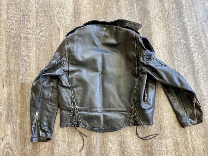Vintage leather jacket, back
