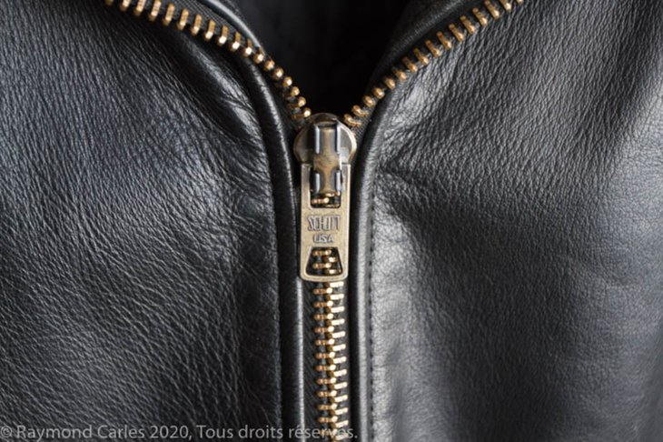 Schott black leather jacket- zipper detail