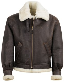 257S - Classic B-3 Sheepskin Leather Bomber Jacket (Brown)