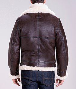 257S - Classic B-3 Sheepskin Leather Bomber Jacket (Brown)