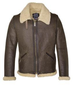 2B6C - Men's Shearling Leather Jacket (Brown)