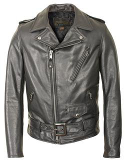 519 - Waxy Natural Cowhide 50's Perfecto Motorcycle Leather Jacket (Black)