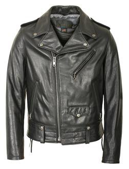 525 - Natural Pebble Cowhide Motorcycle Leather Jacket (Black)