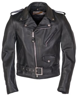 618 - Classic Perfecto Steerhide Leather Motorcycle Jacket (Black)