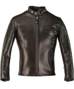 641HH - Classic Schott Racer Black Leather Motorcycle Jacket in Horsehide