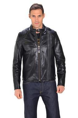 664 - Men's Black Retro Cafe Racer Leather Jacket