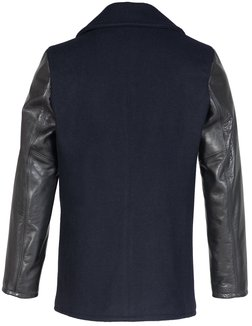 749 - Men's Wool  Hybrid Peacoat with Leather Sleeves
