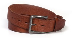 BLT71 - Leather Belt with Antique Nickel Buckle (Luggage)