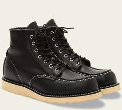 "R9075 - Red Wing Men's 6"" Classsic Moc Toe Boot (Black)"