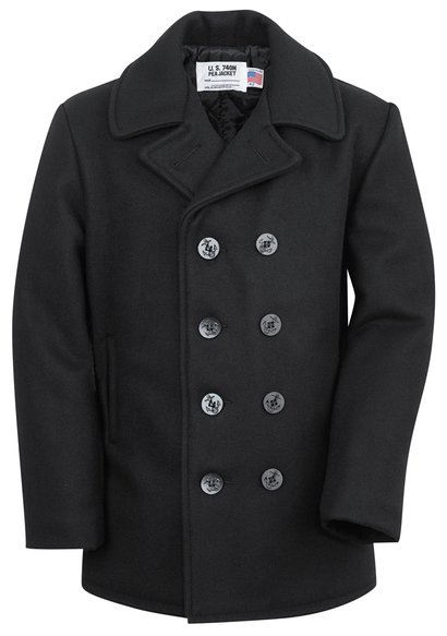 740X - Classic Melton Pea Coat in Larger Sizes