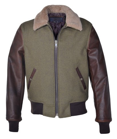 653222bf4c76 Men s Wool Jacket With Leather Sleeves